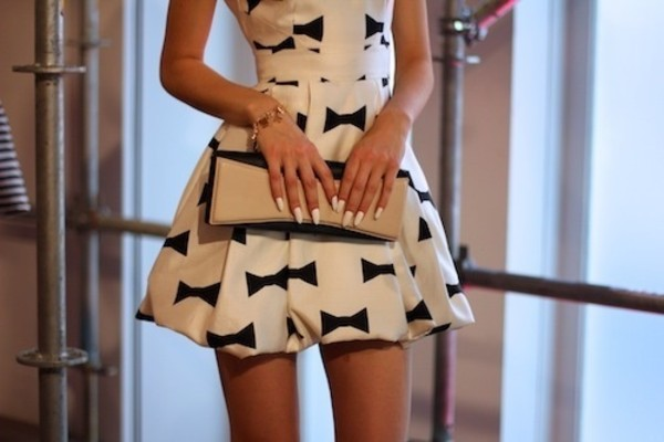 dress bow clothes outweare casual dress bag nude black clutch white bows girly cute sweet dress elegant dress nails little dress black and white dress black and white bow dress