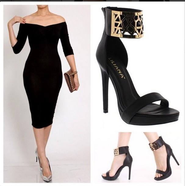 dress little black dress bodycon dress heels shoes midi dress off the shoulder dress off the shoulder dress little black dress ankle strap heels