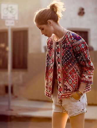 coat boho ethnic indian geometric