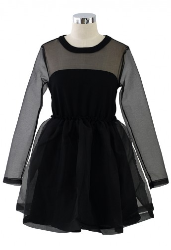 Dreamy Sheer Crepe Panel Dress in Black - Retro, Indie and Unique Fashion
