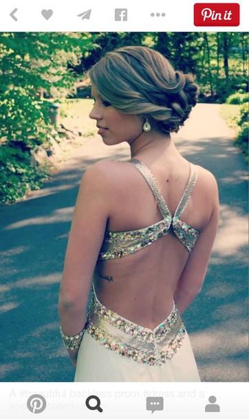 dress white open back dress