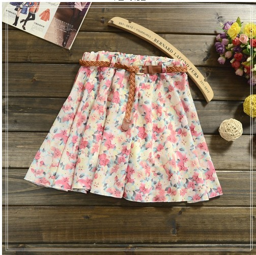 Hot sale ,12 Colors Pleated Floral Chiffon Women Ladies Cute Mini Skirt Belt Include-in Skirts from Apparel & Accessories on Aliexpress.com