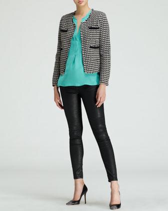 Joie Lyris Cropped Houndstooth Jacket, Vanitra Sleeveless Silk Blouse & Nailah Faux-Leather Pants - Neiman Marcus