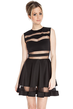Mesh Insert Fit and Flare Dress