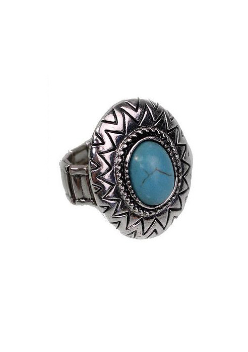 Round Turquoise Ring - Furor Moda - Tops - Dresses - Jackets - Vintage
