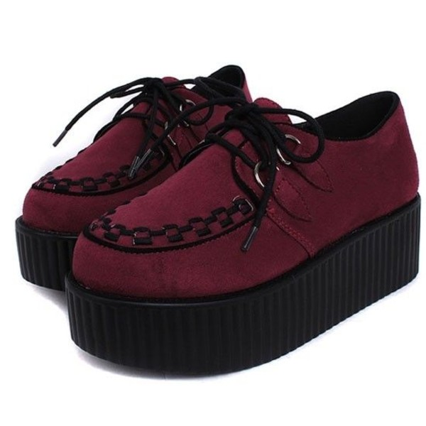 shoes creepers red platform shoes pastel goth