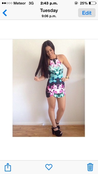 dress floral pattern bodycon dress halter neck summery dress fashion