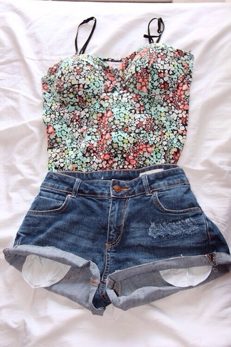 tank top floral floral tank top pink green cute outfit high waisted shorts denim shorts high waisted denim shorts cool hipster summer summer outfits petite lovely shorts