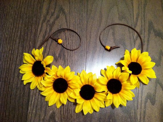 Sunflower Headband Flower Crown Flower Halo by BrittsBlossoms