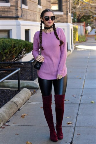 lamariposa blogger sweater pants shoes sunglasses bag purple sweater shoulder bag leather pants thigh high boots