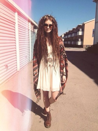 dress beige dress hippie rasta boho indie sweater shoes jacket cardigan poncho drmartens outfit eggshell white grunge long shirt long dress white dress