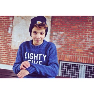 sweater boy blue white letters love more pullover laine bleu pull vintage gril beanie carhartt