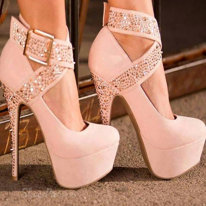 Fashion White Suede Ankle Wrap Platform Stiletto Heels With Buckle