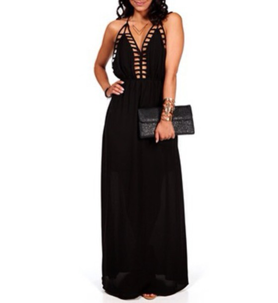 dress black cage back dress