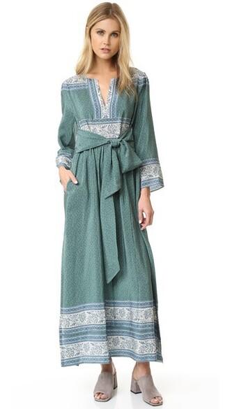 dress maxi dress maxi silk green sea