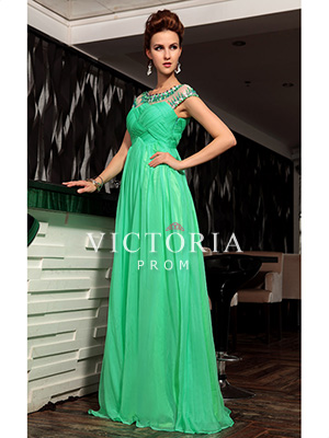 Formal Evening Green Chiffon A-Line Long Cap Sleeve Prom Dress - US$286.19 - Style P2175 - Victoria Prom