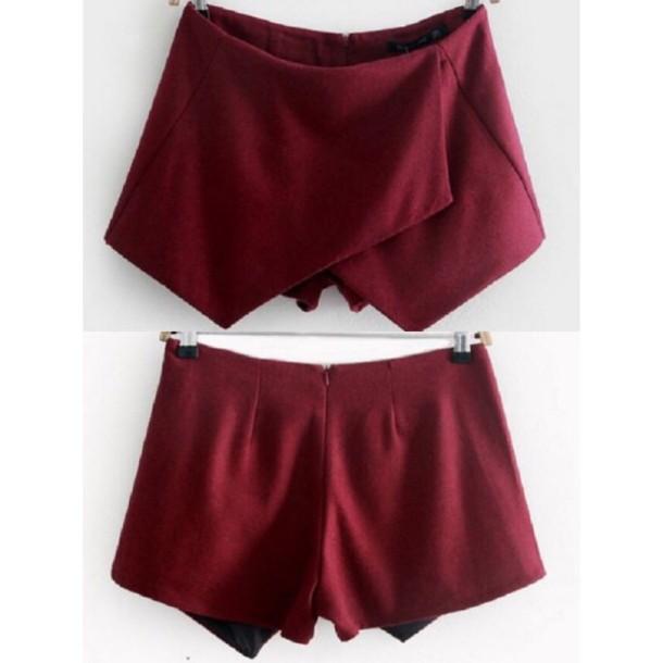 skirt short wine color burgundy shorts wine colored skirt wine colored skorts shorts pretty cute skirt cute shorts