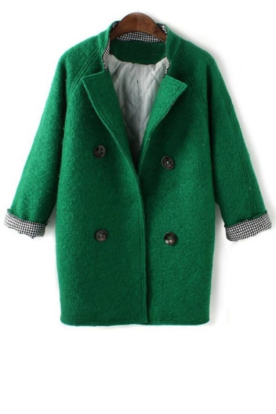 Houndstooth Double-breasted Coat - OASAP.com