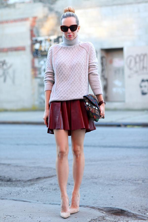 brooklyn blonde sweater skirt shoes bag jewels sunglasses