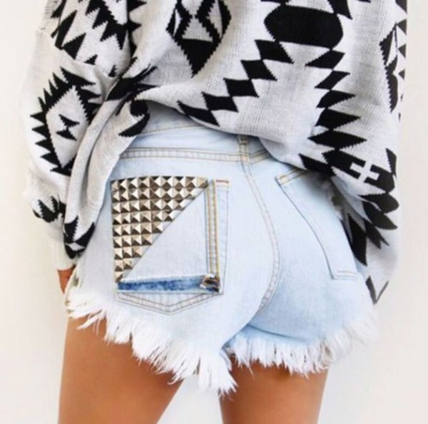 shorts clothes sweater studs