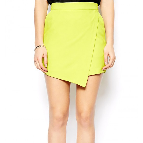 High Waist Skort With Wrap Effect Front at Style Moi