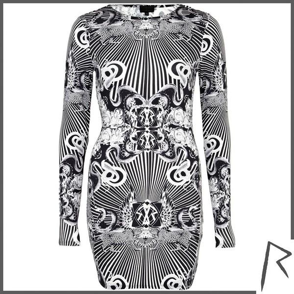 River Island Black Rihanna occult print bodycon dress - Polyvore
