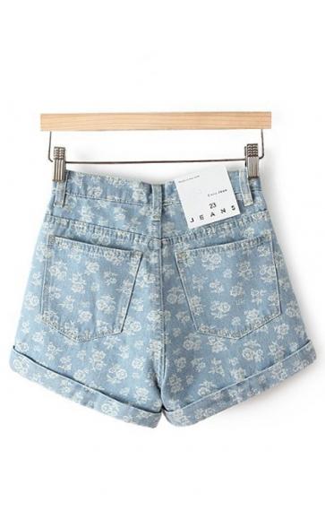 Floral Printing High Waist Denim Shorts