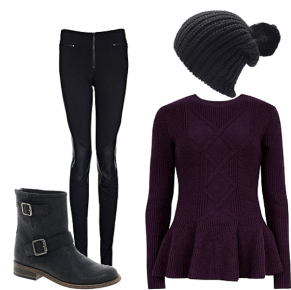 sweater clothes jumper purple sweater purple boots hat jeans shoes