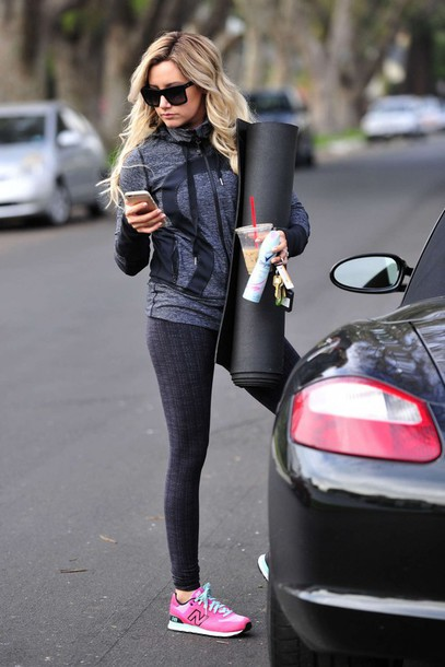 leggings ashley tisdale sportswear sports shoes sunglasses sneakers sports pants workout leggings workout sweater jacket actress celebrity black sunglasses