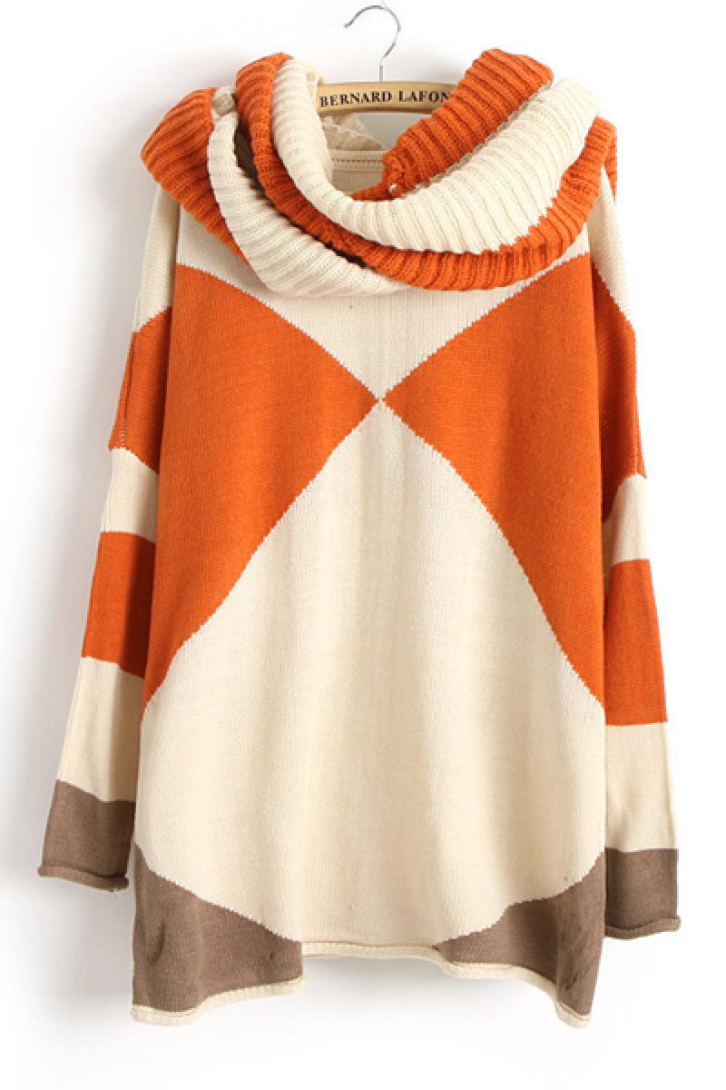 Rhombus Pattern Long Sleeve Round Neck Sweater,Cheap in Wendybox.com