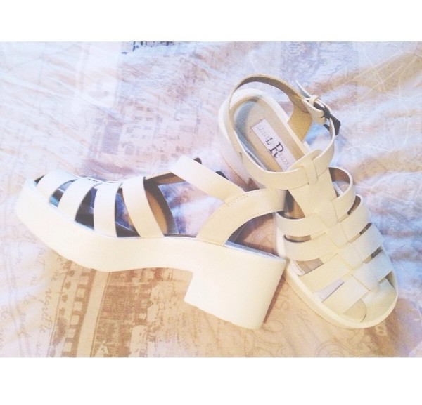 shoes white heels hipster strappy strappy sandals cute platform shoes