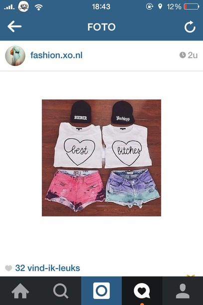 shirt best friend shirts best bitches t-shirt shorts best bitches pink shorts blue shorts bff