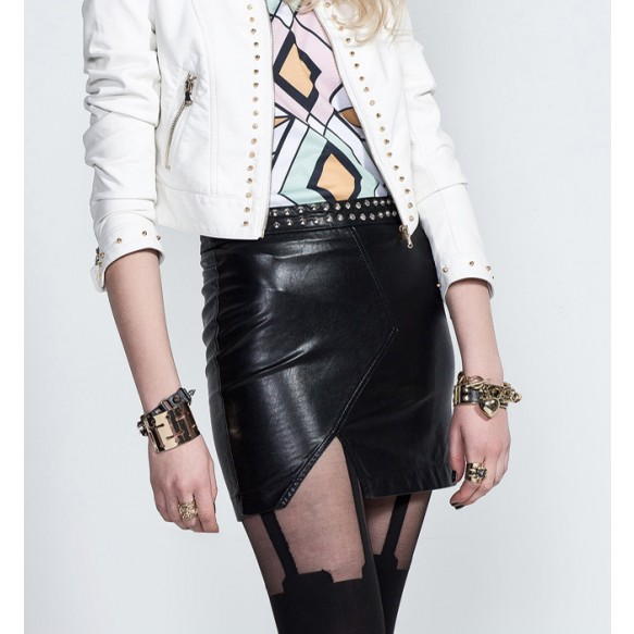 Leather Look Skirt With Rivets at Style Moi