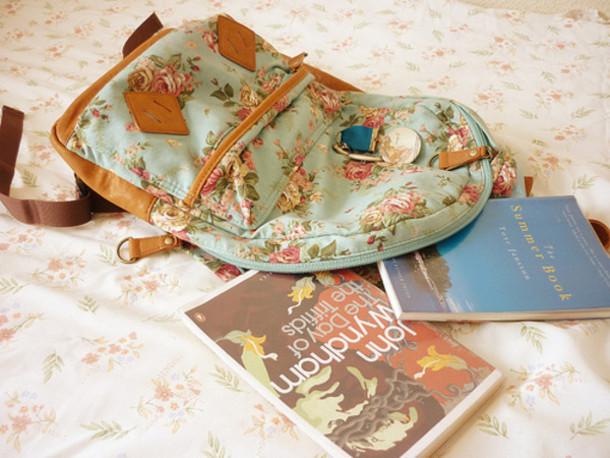 bag backpack flowers pale