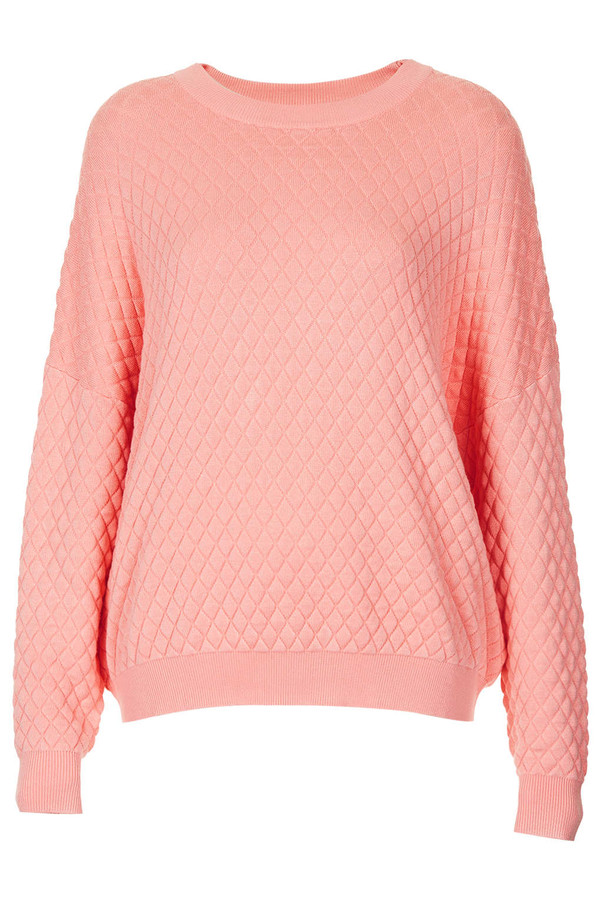 sweater pink quilted jumper topshop