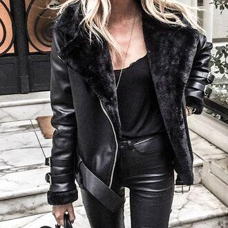 jacket maniere de voir shearling biker faux black acne studios buckles suede leather 36683 black shearling jacket