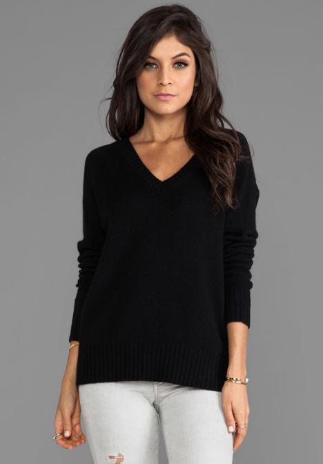 360 SWEATER Luci Cashmere Sweater in Black - Sale