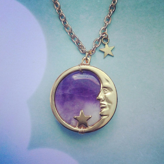 Gold or Silver Amethyst Moon Face necklace MADE TO by lotusfairy