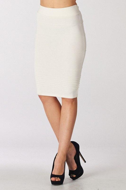 New Ivory Knee Length MIDI Pencil Bandage Skirt Size S | eBay