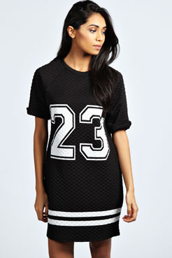 Polly '23' Quilted T Shirt Dress at boohoo.com