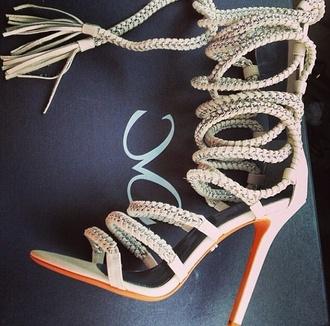 shoes heels rope pumps high heels
