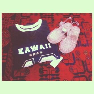 t-shirt kawaii varsity jellies jersey shoes