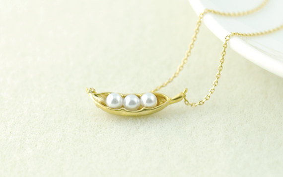 Pea Pod Necklace in Gold. by whimsyandmagic on Etsy