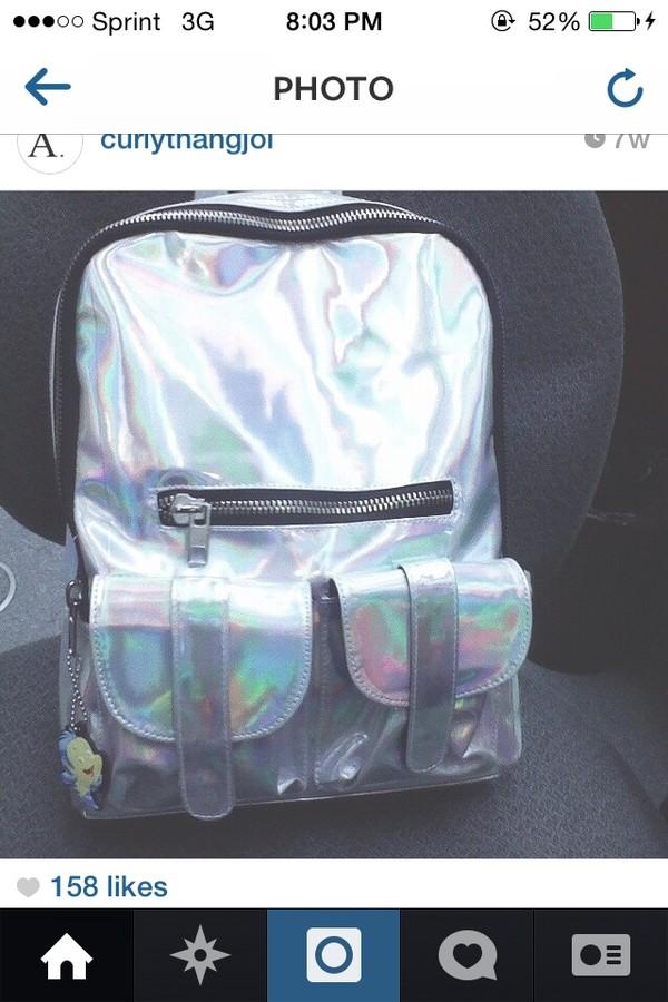 bag iridescent backpack vintage cool girl style soft grunge grunge