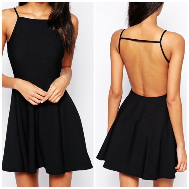 dress open back high neck high neck little black dress black dress