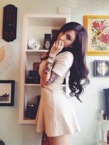 dress tattoo hipster brunette indie pretty woman nude dress