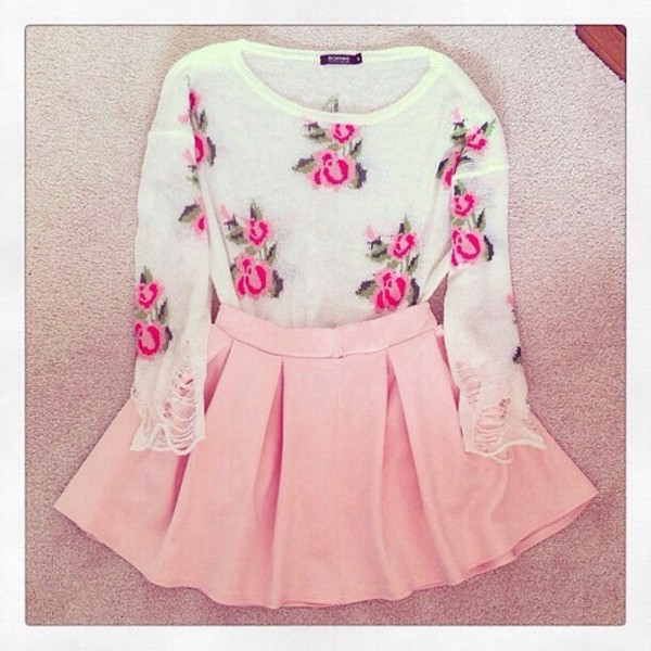 sweater pink skirt sweet lovely mint floral floral sweater skirt pink floral shirt girly blouse shirt rose flowers light pink pink flowers cute lovely cute outfits light pink skirt baby pink and shirt dress white roses pleated pastel white rose flowers