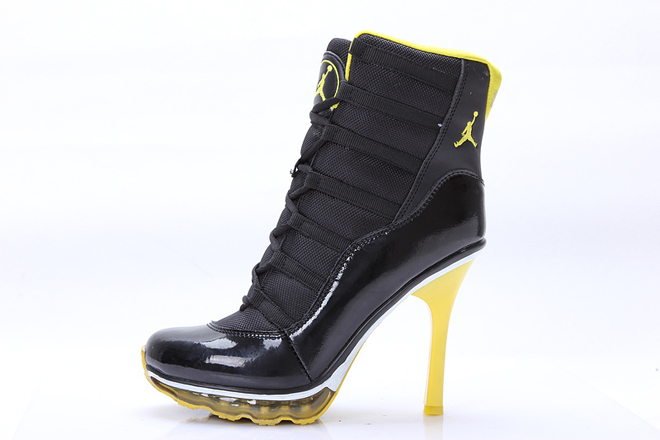 Air Jordan 11 Ladies High Heels Boots With Air Max In Black and Yellow