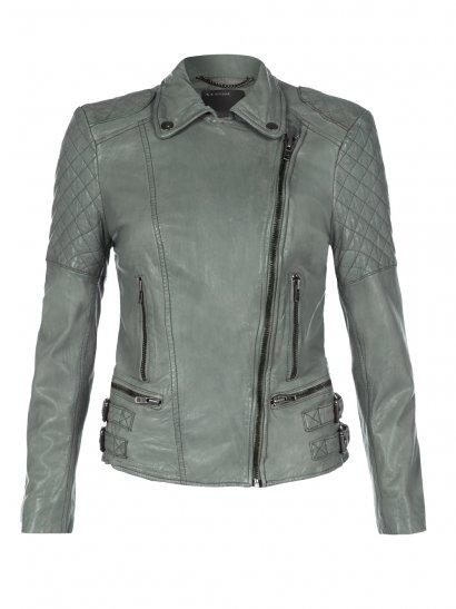 Muubaa Rokel Grey Green Leather Biker Jacket