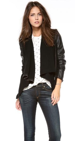 Blank Denim Vegan Leather & Ponte Jacket   SHOPBOP